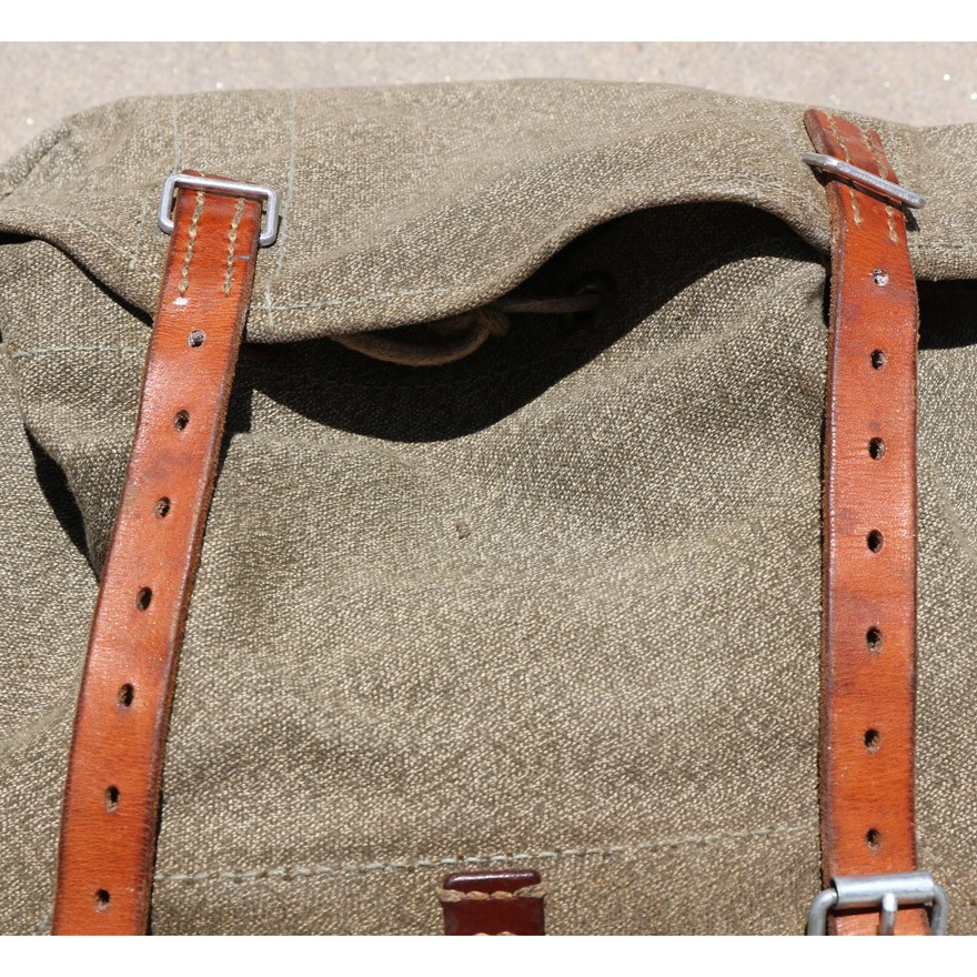 More Views. Swiss Vintage 1968 Steiner Salt and Pepper Leather and Canvas  Rucksack Backpack d5ffaca57db3d