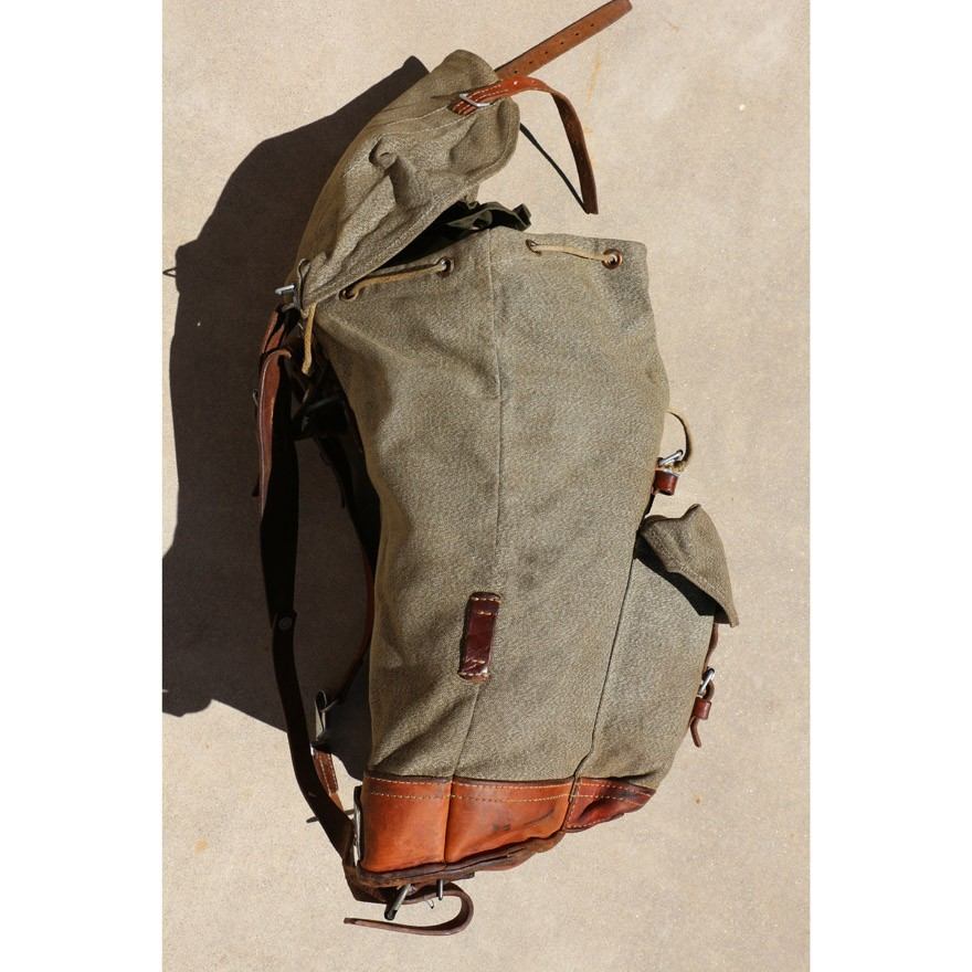 Swiss Vintage 1968 Steiner Salt and Pepper Leather and Canvas Rucksack  Backpack 65f791ac56787