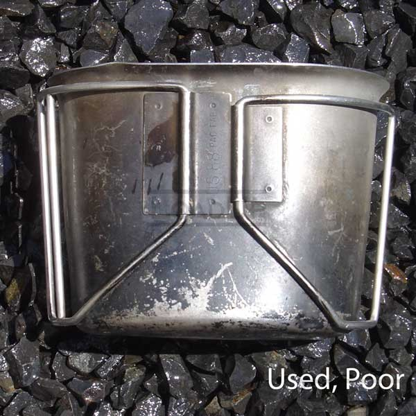 US GI Canteen Cup Winged Handles Stainless Steel-Used, Poor
