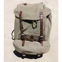 Swiss Vintage 1956 Portig Salt and Pepper Leather and Canvas Rucksack Backpack