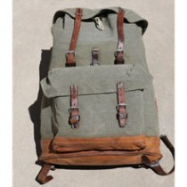 Swiss Vintage 1959 Beeri Salt and Pepper Leather and Canvas Rucksack Backpack