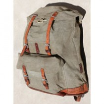 Swiss Vintage 1968 Steiner Salt and Pepper Leather and Canvas Rucksack Backpack